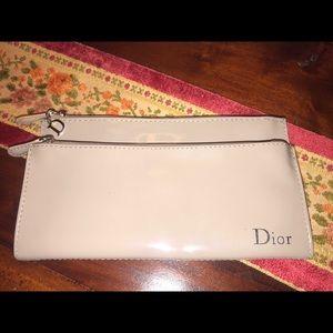 Christian Dior tan clutch wallet makeup beauty bag